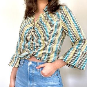 Vintage Ruffle Sleeve Button Blouse